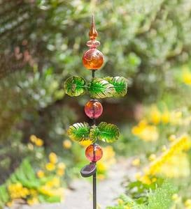 Glass Solar Garden Stake with Spinning Metal Leaves
