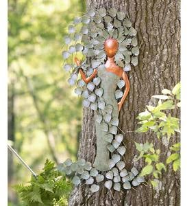 Copper and Patina-Colored Metal Green Woman Wall Art