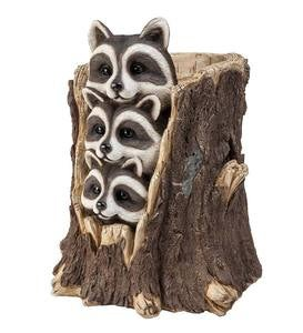 Solar Three Raccoons in a Stump Sculpture