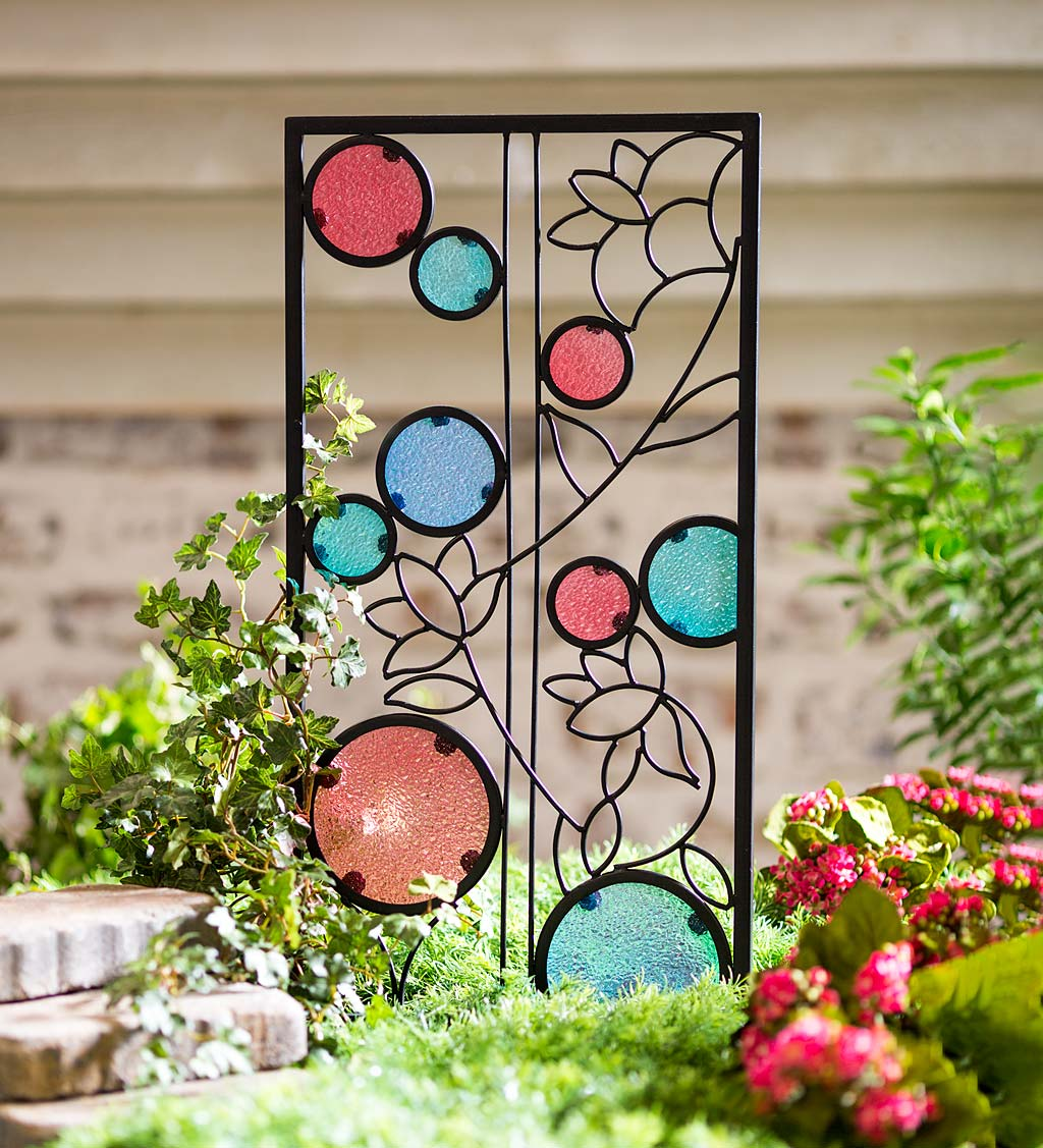 Decorative Metal Trellis with Flowers and Colored Glass Circles