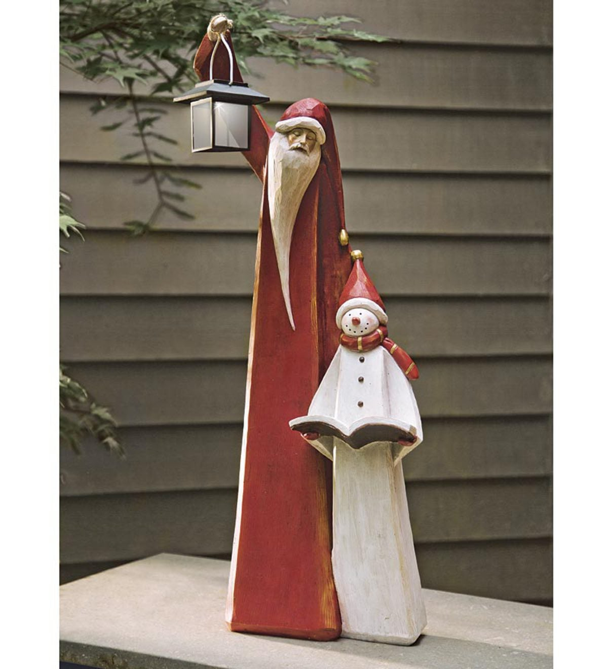 Santa And Snowman Sculpture With Solar Lantern