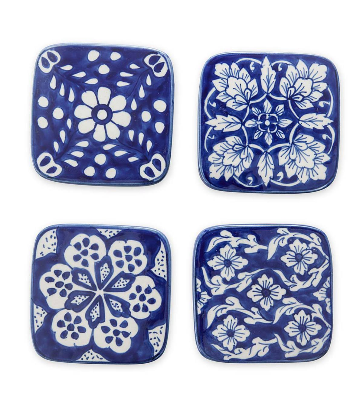 Ceramic Coasters, Set of 4 - Blue