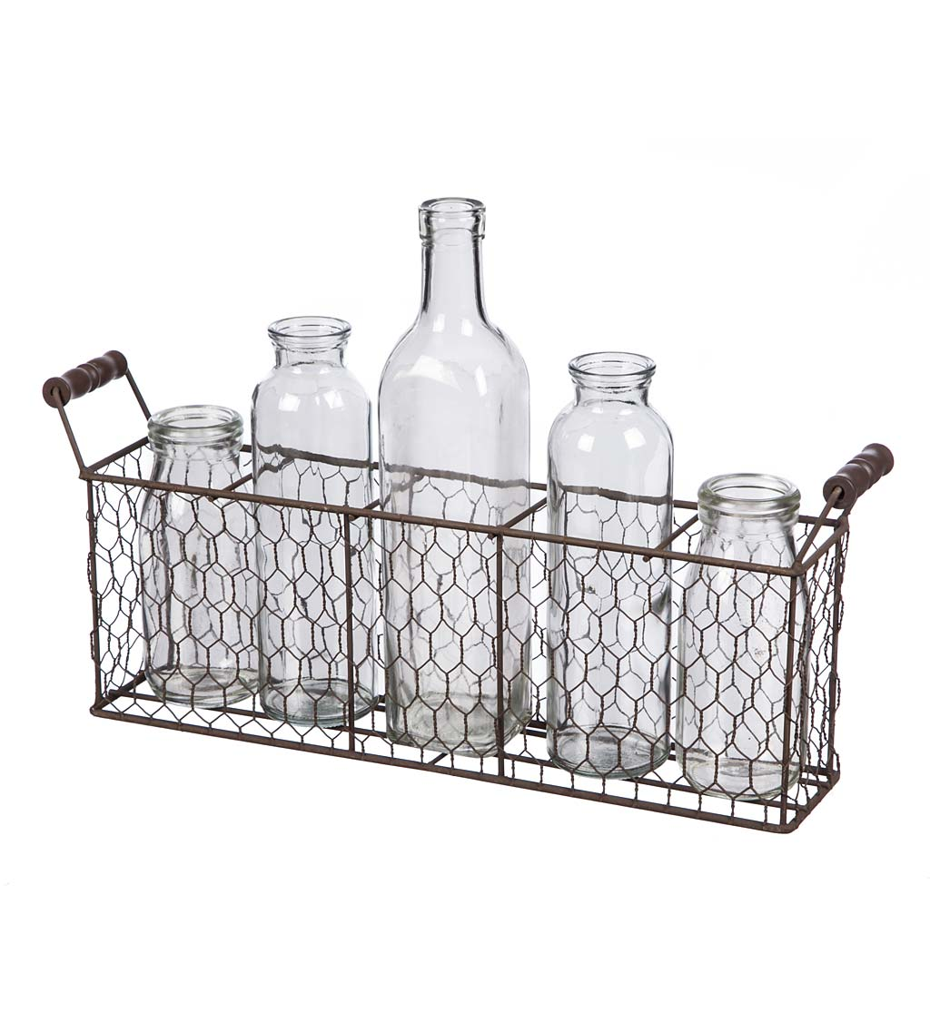 Farmhouse Chicken Wire Basket with Glass Bottles