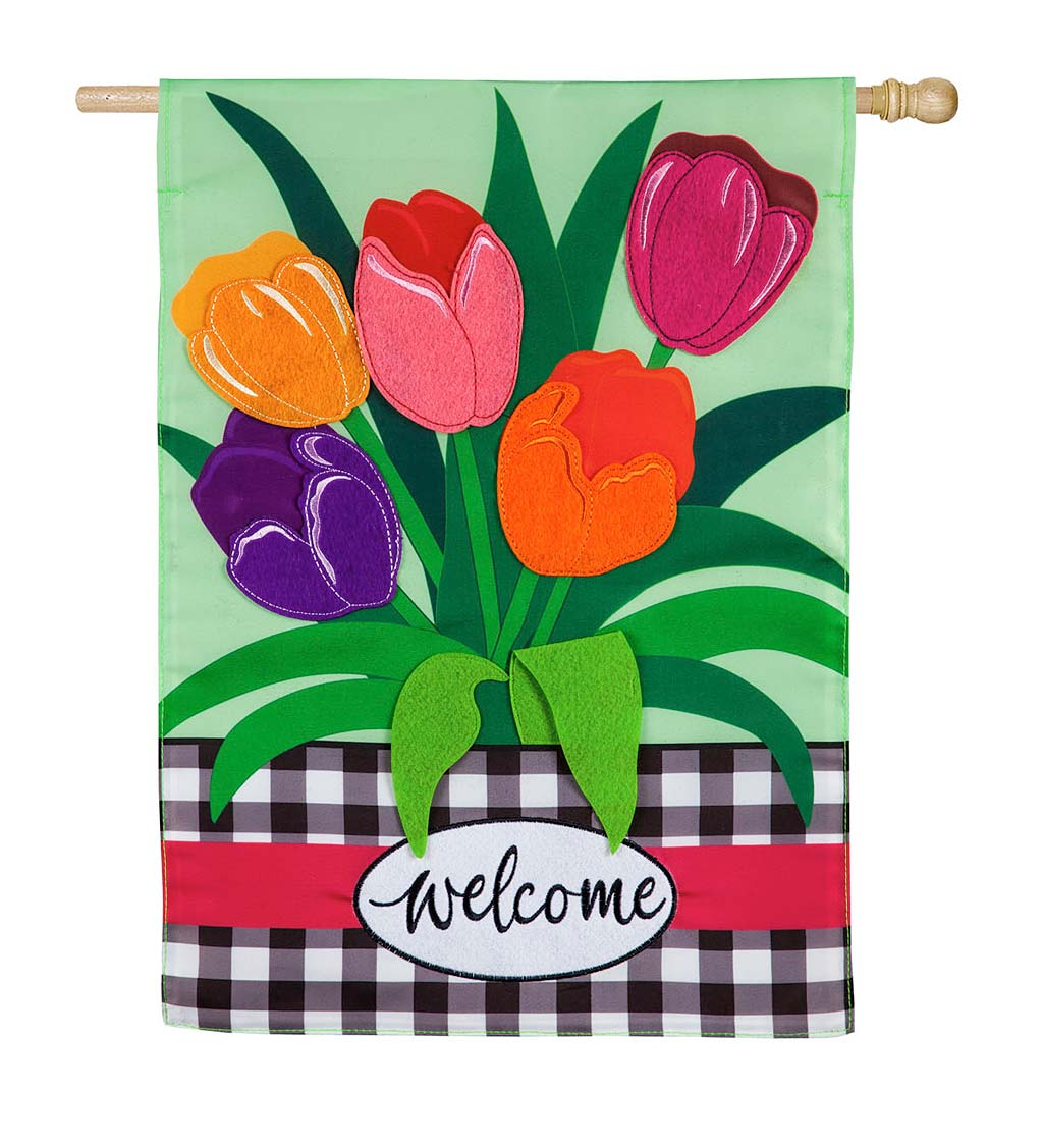 Welcome Spring Tulips Applique House Flag