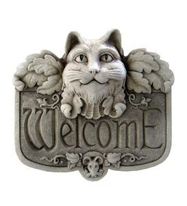 Gothic Cat Welcome Hand Cast Stone Plaque by Carruth Studio