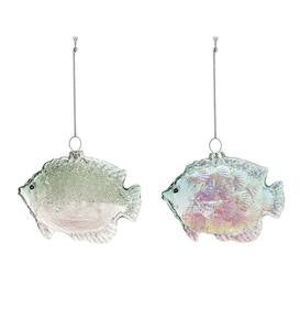 Glass Fish Ornaments, Set of 2