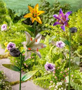 Solar Lighted Metal Lily Garden Stake - Yellow