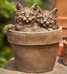 Cast Stone Kittens in Pot Statue