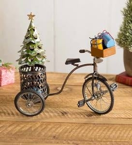 Miniature Holiday Tricycle with Christmas Tree