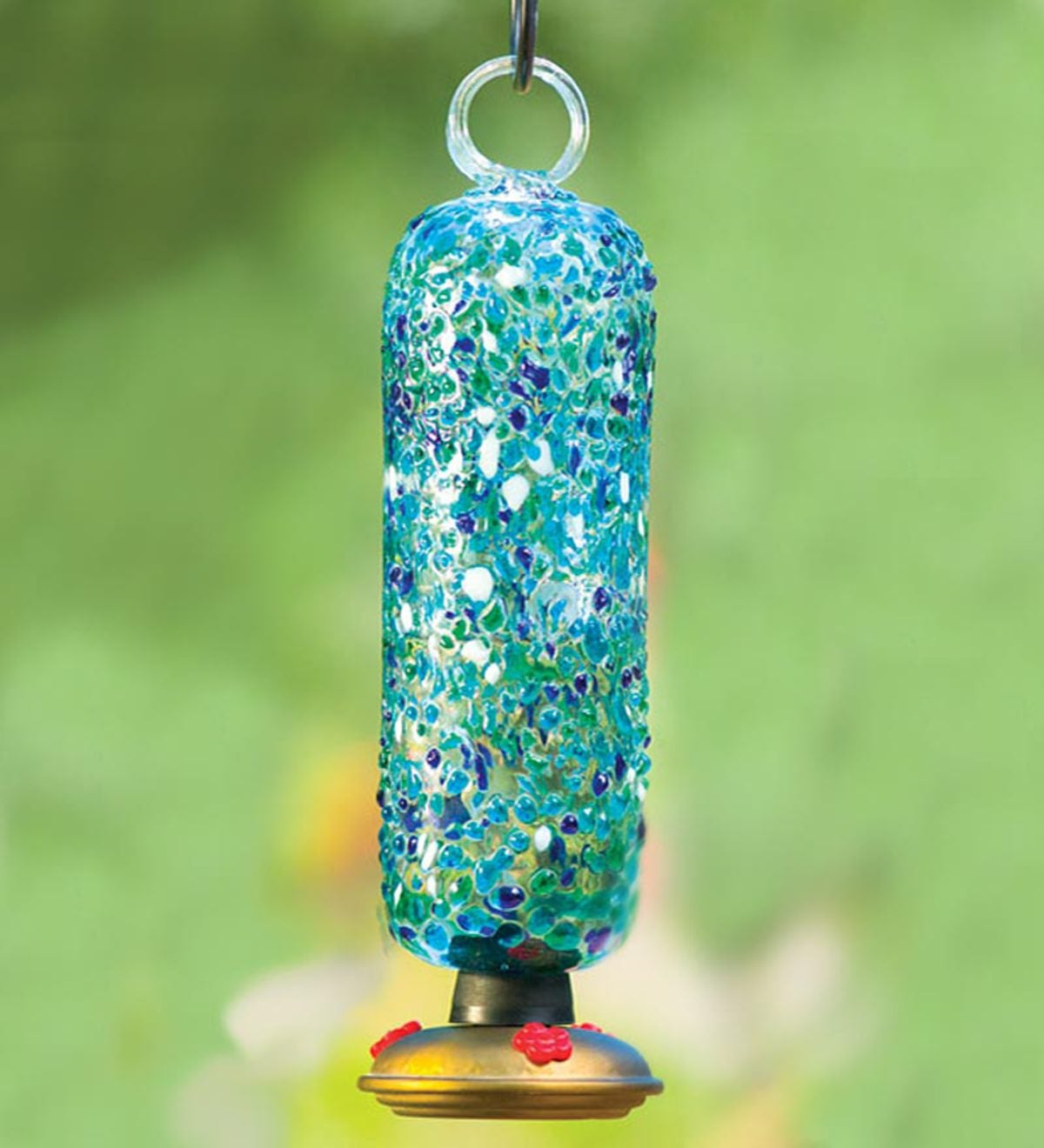 Ocean Filigree Glass Hummingbird Feeder
