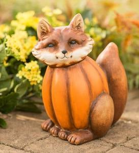 Fox in a Pumpkin Sculpture