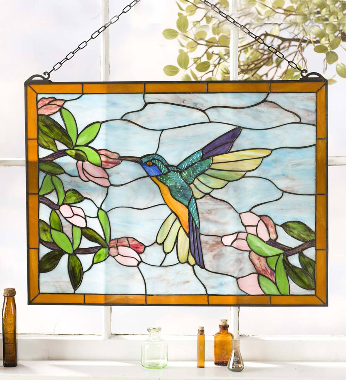Stained Glass Hummingbird Art Panel with Metal Frame and Chain