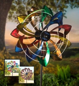 Solar Lighted LED Flower Metal Wind Spinner with Bi-Direction Rotors - Copper