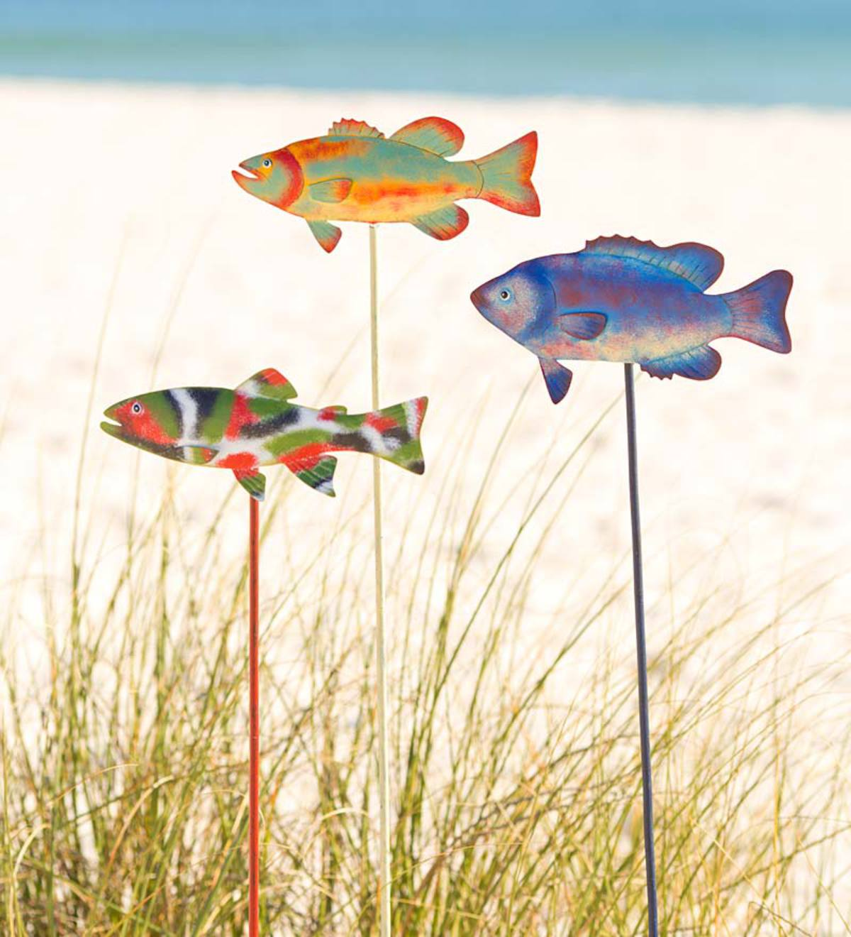 metal fish art wall decor.htm small metal fish garden stakes  set of 3 wind and weather  small metal fish garden stakes  set of
