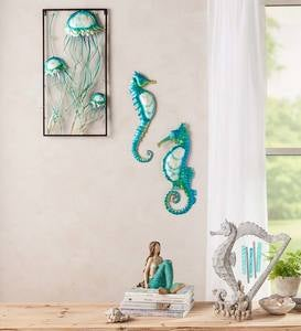 Handcrafted Metal Jellyfish Wall Art with Capiz Accents