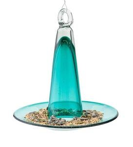 Handcrafted Colorful Pyramid Recycled Glass Bird Feeder