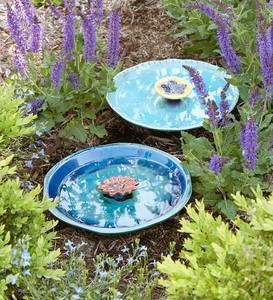 Colored Flower Ceramic Bee Bath - Blue