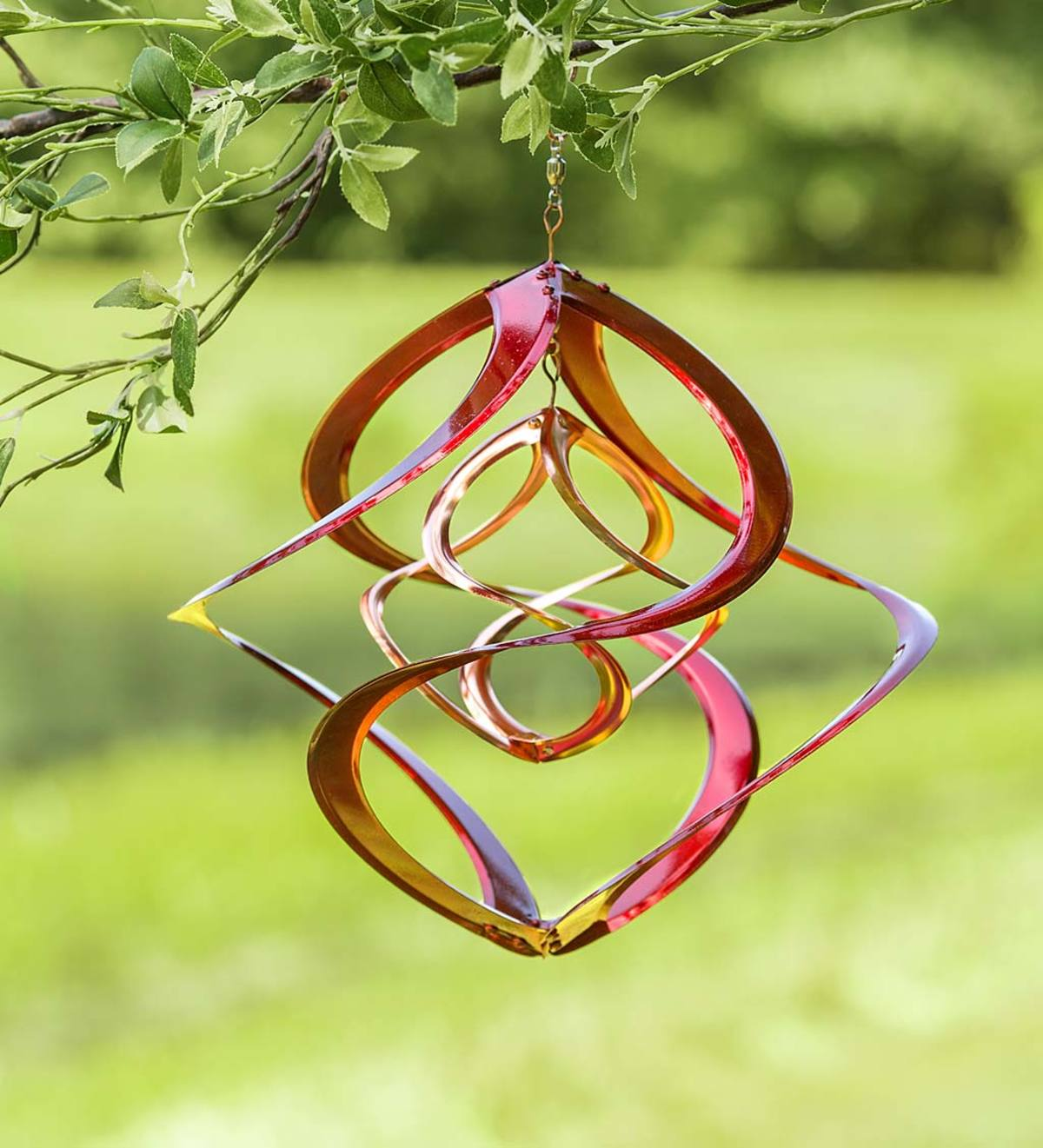 Red and Copper-Plated Metal Double Helix Wind Spinner
