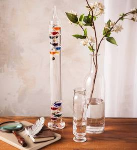 Clear Glass Tabletop Galileo Thermometer with Colorful Temperature Markers
