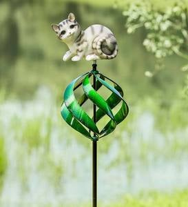 Cat-Topped Wind Spinner