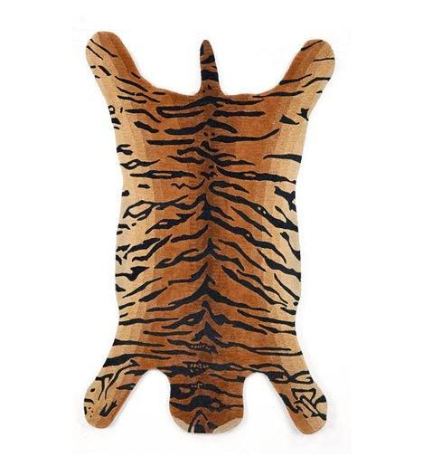 8'W X 10'L Indoor Faux Tiger Skin Rug