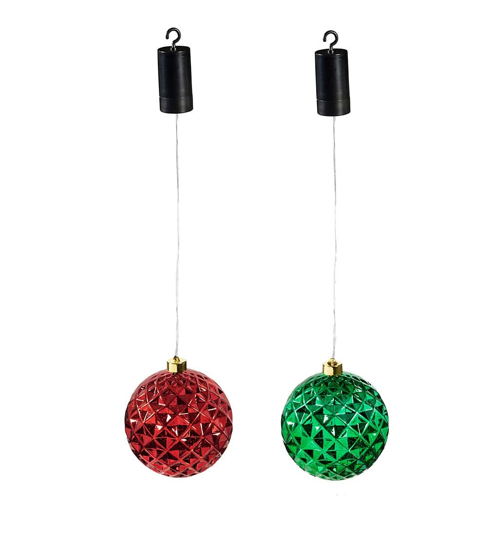 "Indoor/Outdoor Lighted Shatterproof Hanging Holiday Faceted Ball 5"" Ornaments, Set of 2 - Green/Red"