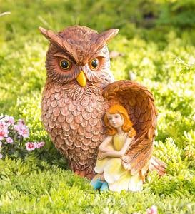 Owl with Fairy Garden Sculpture