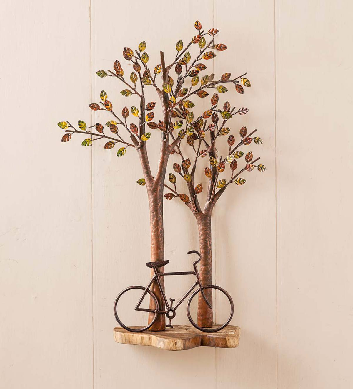 Bike Under Tree Wood And Metal Wall Art Wind And Weather