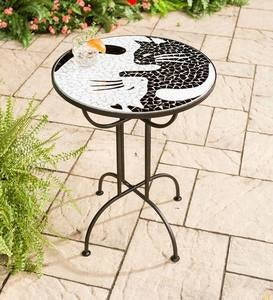 Metal and Glass Mosaic-Top Side Table - Cats