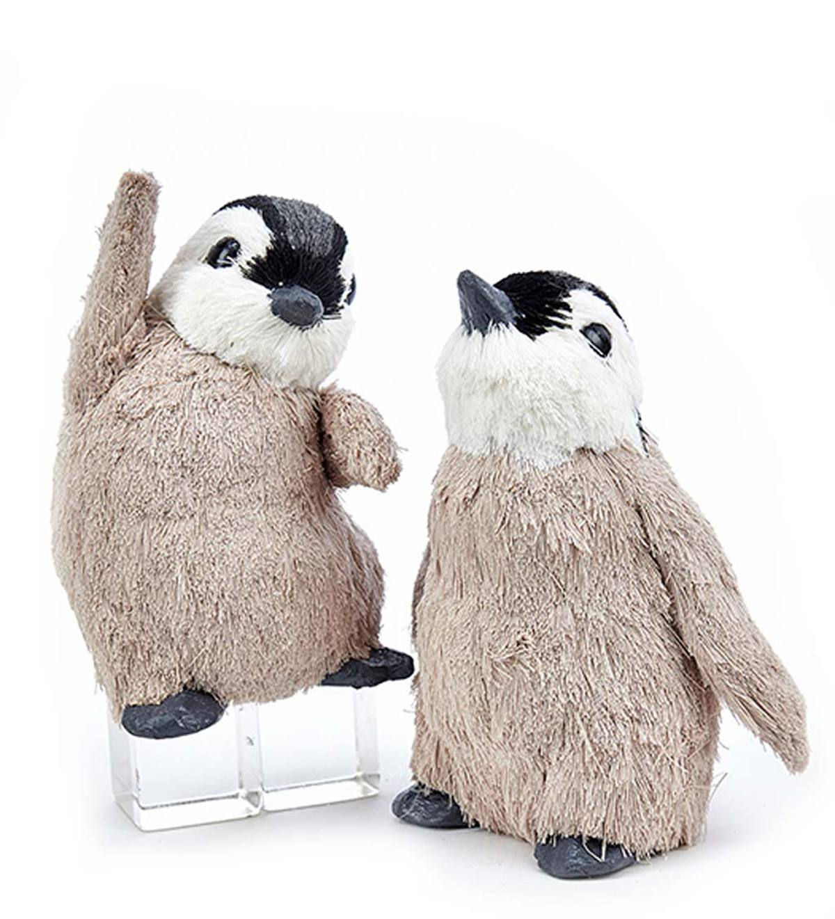 Fuzzy Penguin Ornaments, Set of 2