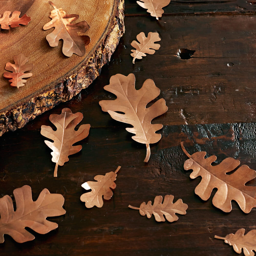 Handcrafted Decorative Copper Oak Leaves in Various Sizes, Set of 10