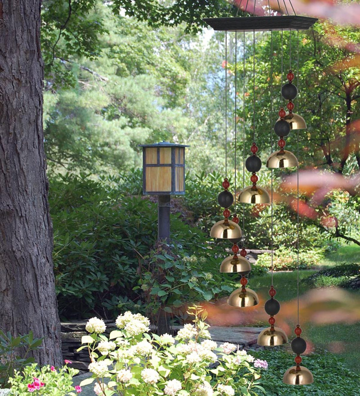 Image result for garden with wind chimes