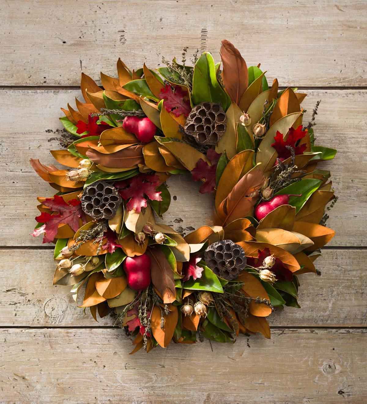 Fall Leaves and Feathers Holiday Wreath