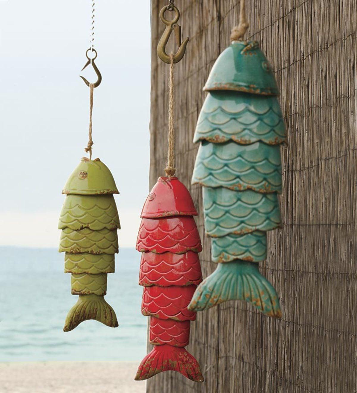 colored porcelain koi fish wind chime