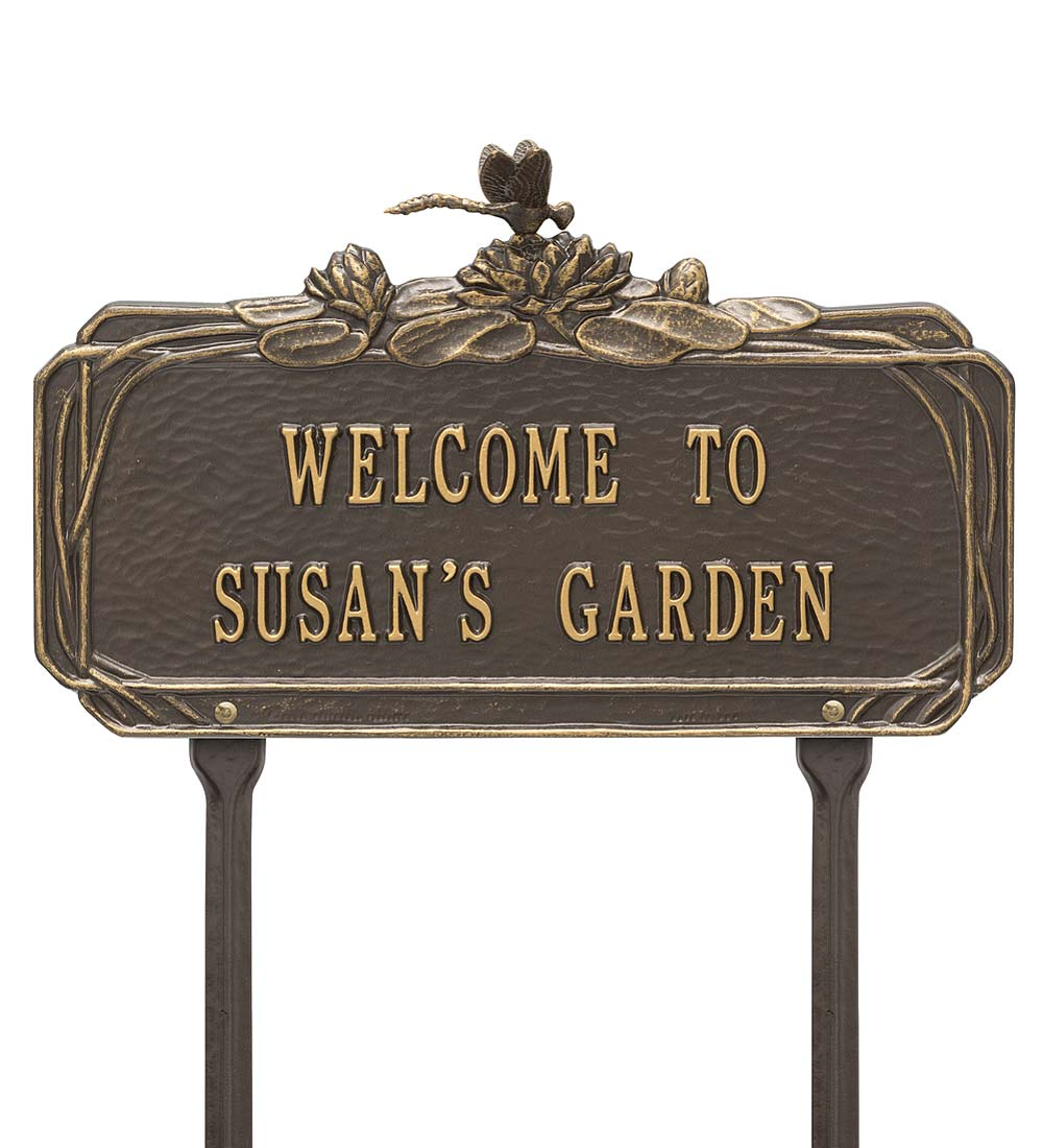 Personalized Dragonfly Welcome Garden Plaque