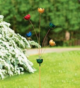 Handcrafted Multicolor Metal Lily Cup Chime Garden Stake
