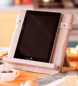 Reclaimed Wood & Leather iPad/Cookbook Holder