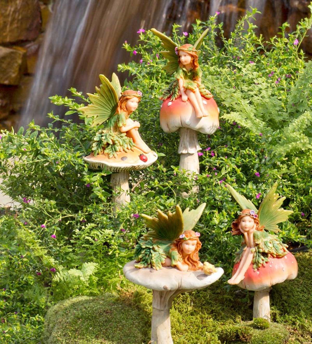 Genial Fairies On Mushrooms Garden Stakes, Set Of 4
