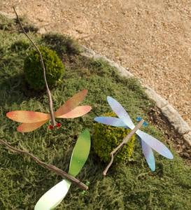 Handcrafted Twig Dragonfly Garden Stake - Blue