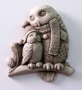 Snowy Owls Cast Stone Wall Art