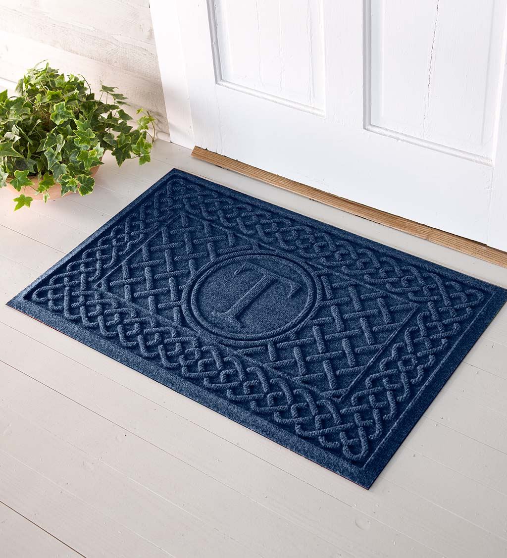 Waterhog Cable Weave Doormat with Single Initial, 2' x 3' - Navy