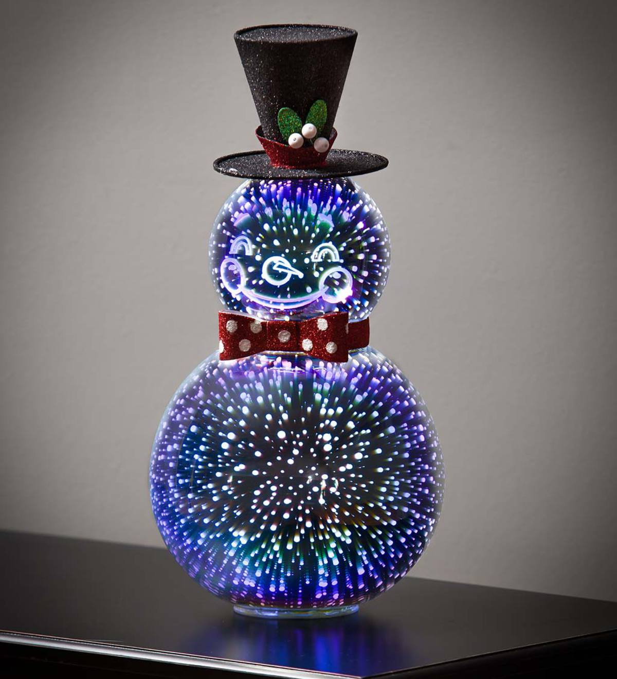 Stargazing LED Glass Holiday Snowman with Smile
