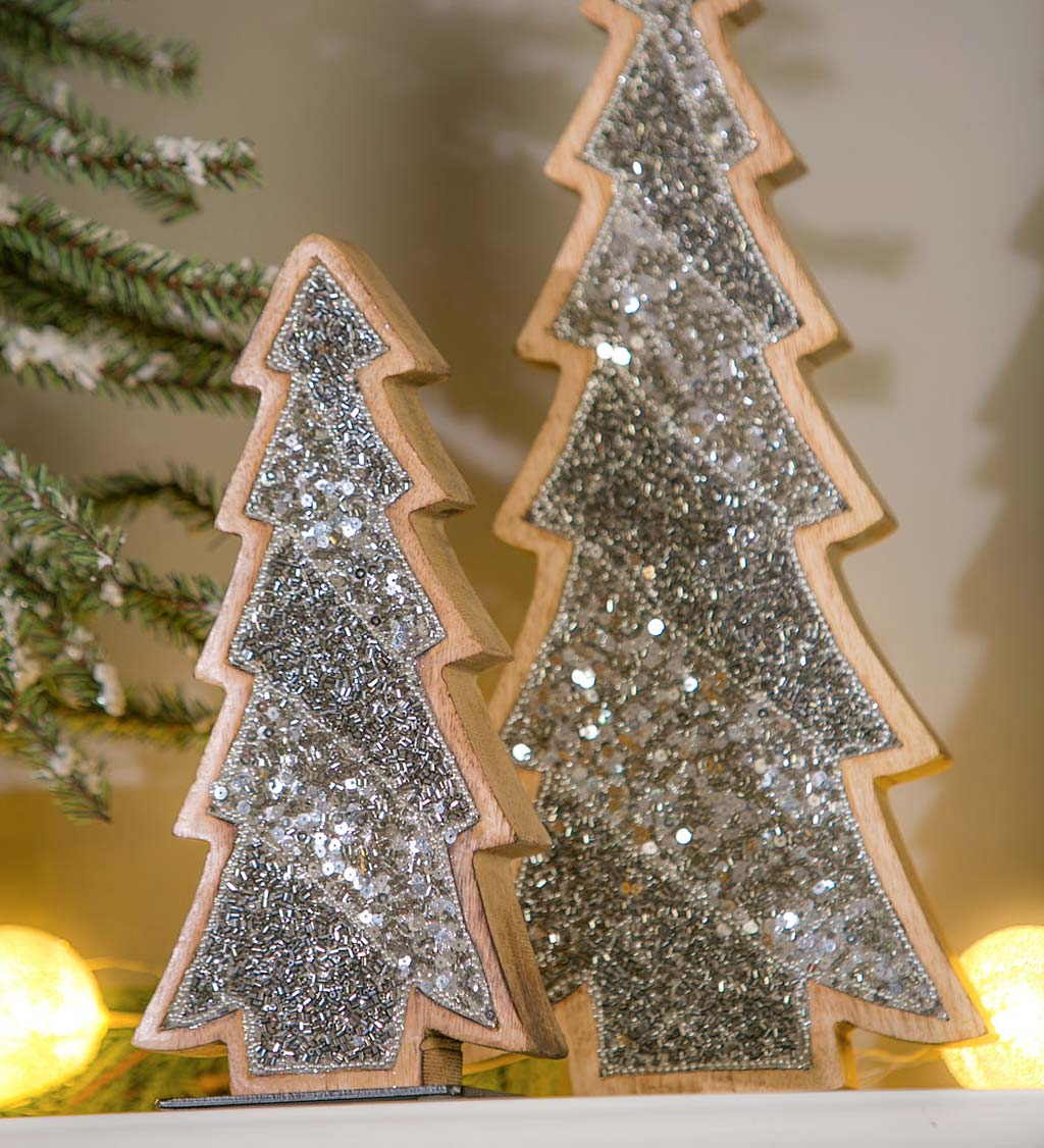 Swirl Christmas Tree Silver Glass Double Tea Light Candle Holder Ornament