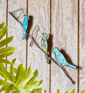 Handcrafted Metal and Capiz Birds on a Wire Wall Art