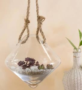 Glass Vase with Rope Hangers