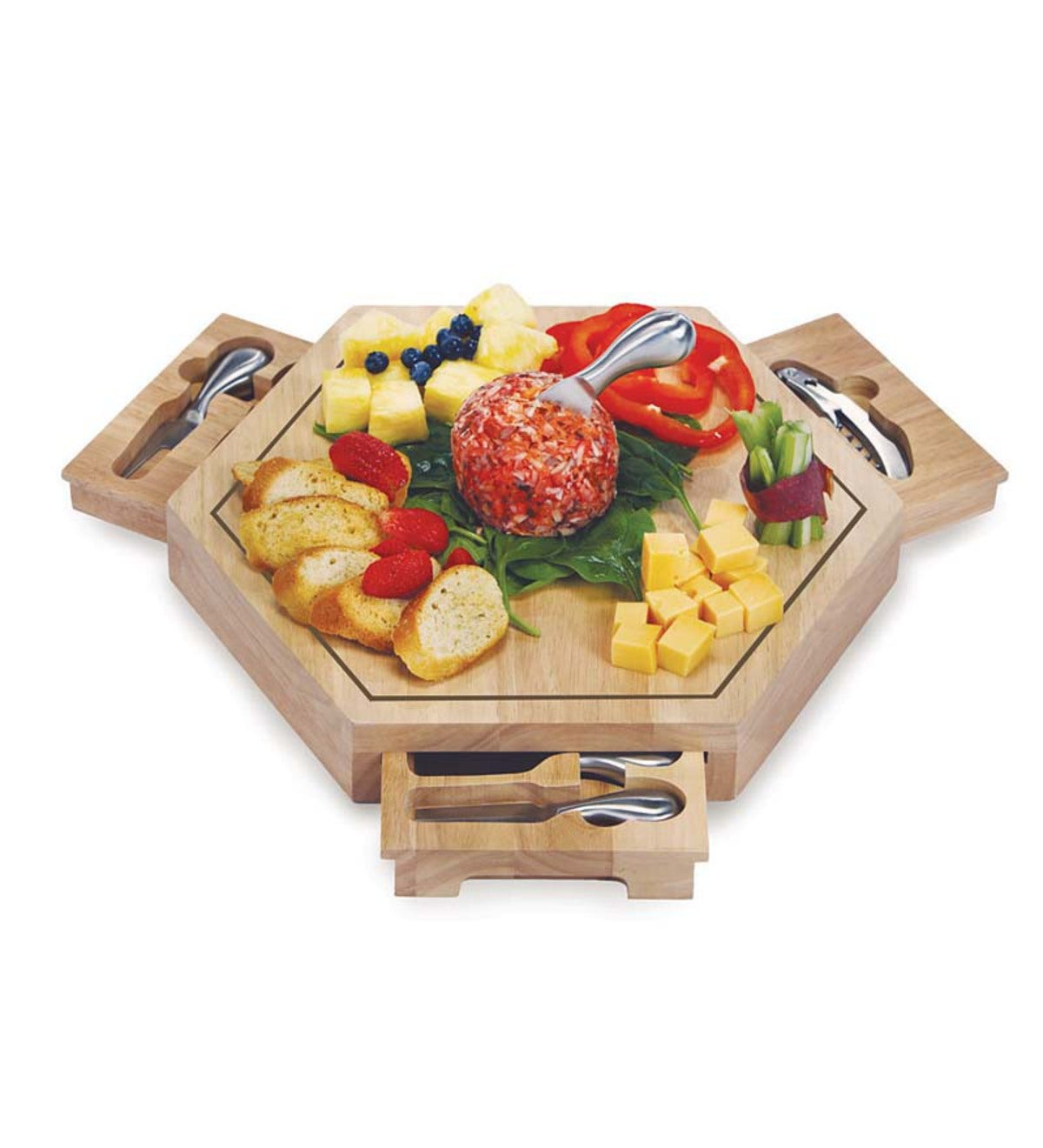 Large Hexagonal Wooden Cheese Board with Cheese Tools and Corkscrew