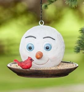 Happy Snowman Holiday Bird Feeder