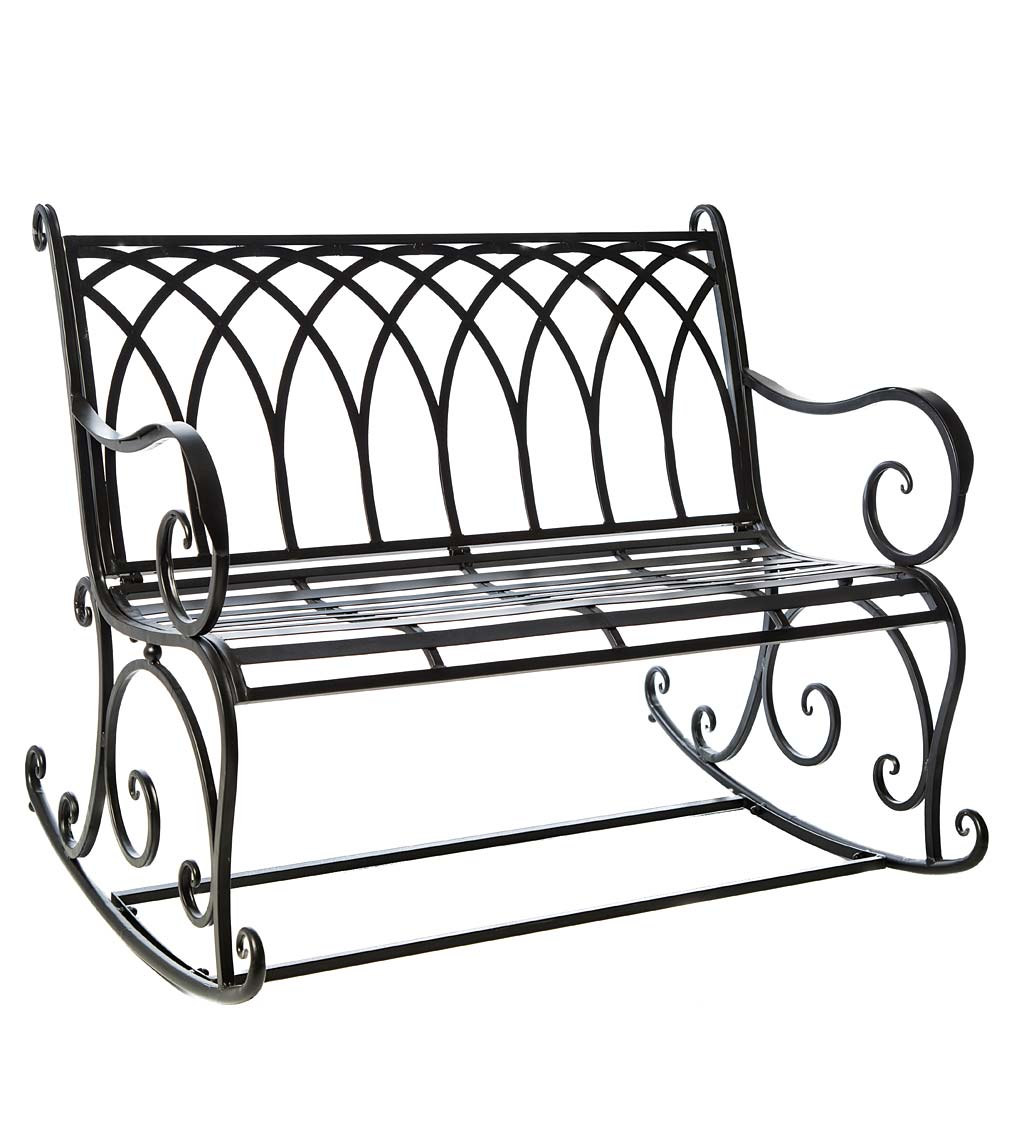 Picture of: Black Metal Rocker Garden Bench Black Wind And Weather