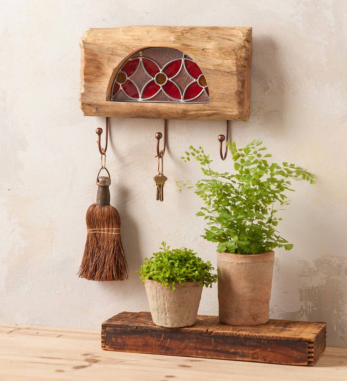 Stained Glass and Teak Three-Hook Wall Hanger