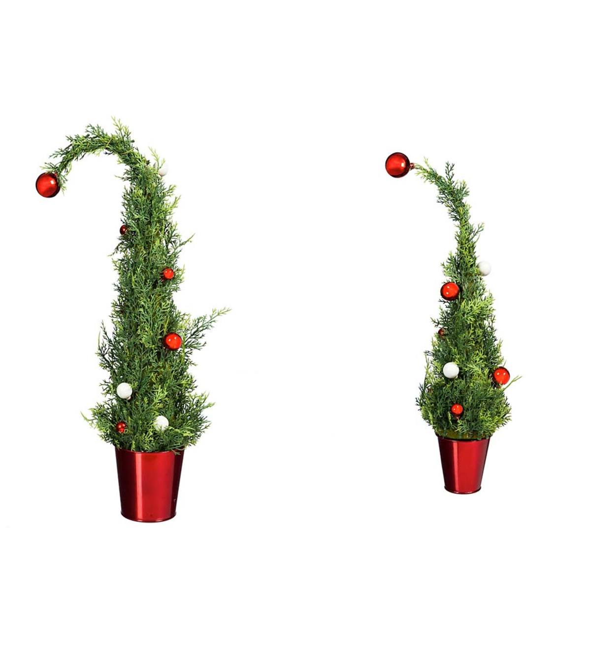 Faux Trees with Ornaments in Red Pots, Set of 2